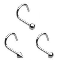 Titan Nasenpiercing gebogen - Silber