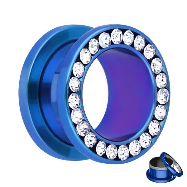 Flesh Tunnel - Stahl - Blau - Kristall