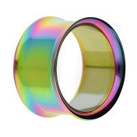 Double Flare Flesh Tunnel - Stahl - Regenbogen