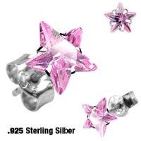 Sterling Silber Ohrstecker - Stern Kristall - Pink