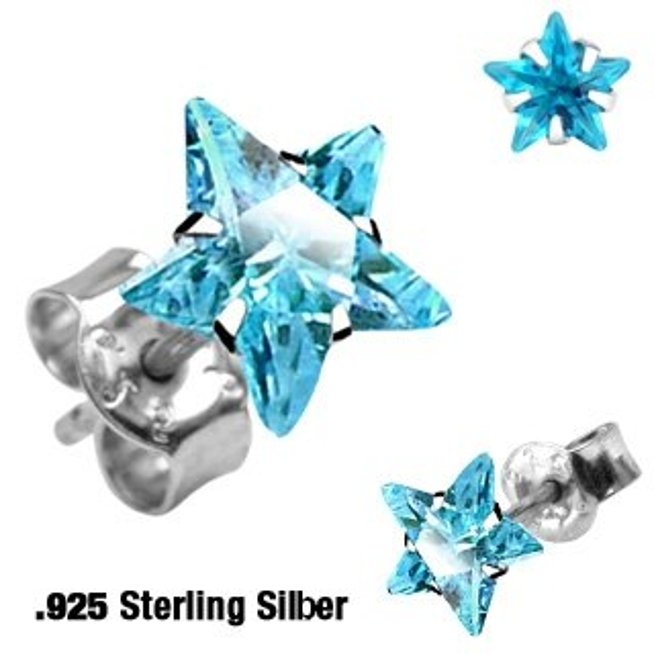 Sterling Silber Ohrstecker - Stern Kristall - Türkis