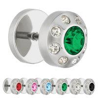 Piercing Fake Plug - Silber - Kristall