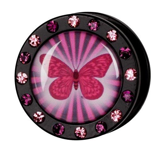 Kristall Bild Plug - Gewinde - Schmetterling