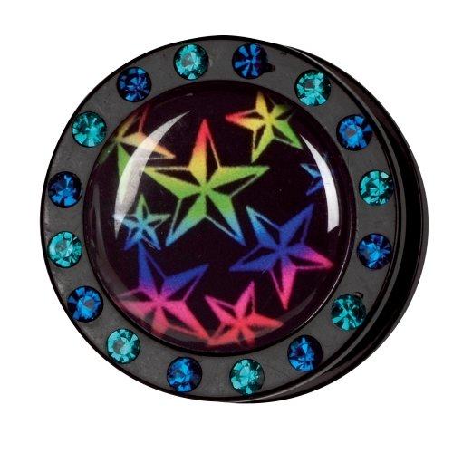 Kristall Bild Plug - Gewinde - Stern Regenbogen
