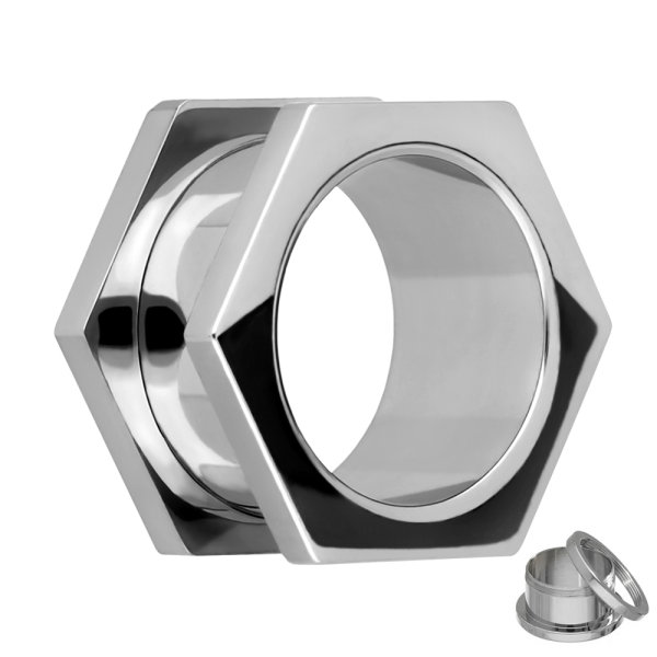 Flesh Tunnel - Stahl - Silber - 6-eck