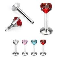 Piercing Labret - Silber - Kristall - Herz