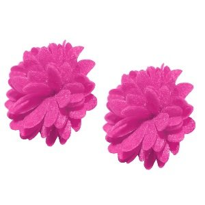 Ohrringe - Stecker - Blume - Stoff - Pink