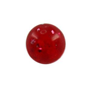Piercing Kugel - Kunststoff - Glitter - Rot