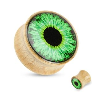 Holz Plug - Ahorn - Auge - Grün