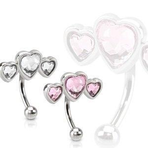 Bauchnabelpiercing - Klein - 3 Herzen