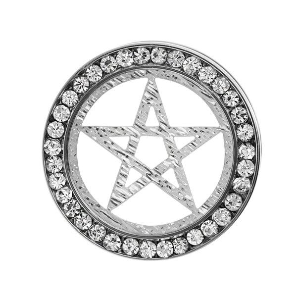 Flesh Tunnel - Stahl - Silber - Kristalle - Pentagramm