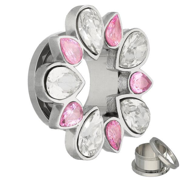 Flesh Tunnel - Stahl - Kristall - Tropfen - Pink
