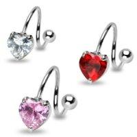 Spirale Piercing - Silber - Kristall- Herz