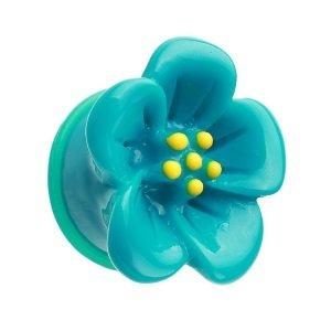 Ohr Plug - Kunststoff - Hibiskus - Blau