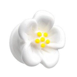 Ohr Plug - Kunststoff - Hibiskus - Weiß