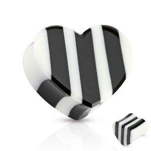 Holz Plug - Herz - Schwarz - Weiß