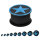 Silikon Plug - Schwarz - Stern Blau