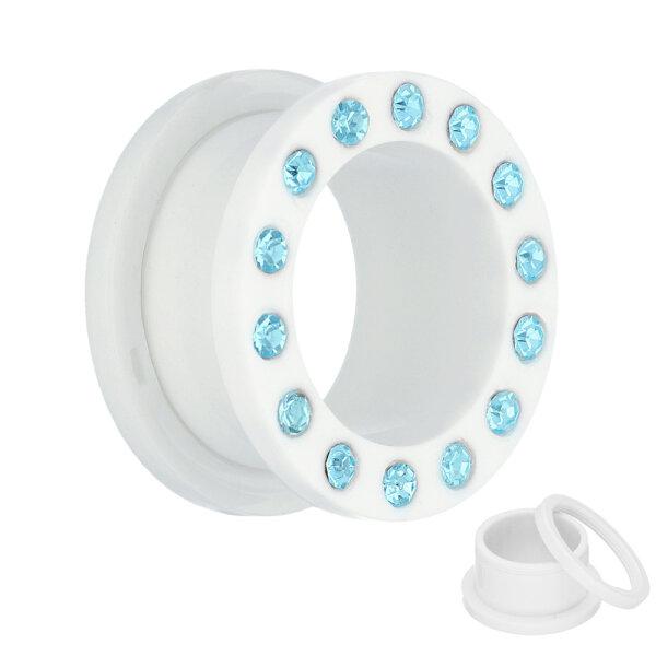 Flesh Tunnel - Kunststoff - Weiß - Kristall Blau