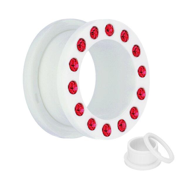 Flesh Tunnel - Kunststoff - Weiß - Kristall Rot