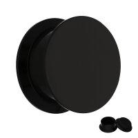 Acryl - Kunststoff Ohr Plug | Schwarz | mit Gewinde