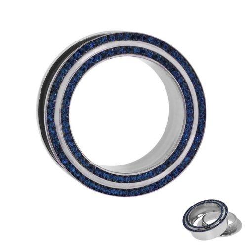 Flesh Tunnel - Stahl - Kristalle - 2 Reihen - Blau