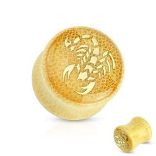 Holz Plug - Bambus - Skorpion - Gold
