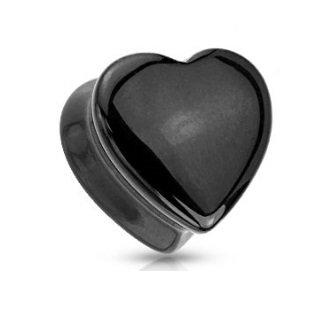 Ohr Plug - Herz - Onyx