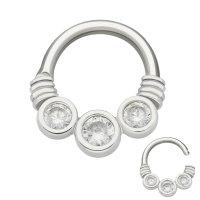 Septum Piercing - Stahl - Silber - Kristalle - Klar