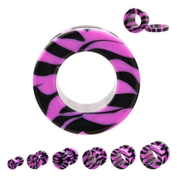 Flesh Tunnel - Kunststoff - Zebra - Pink