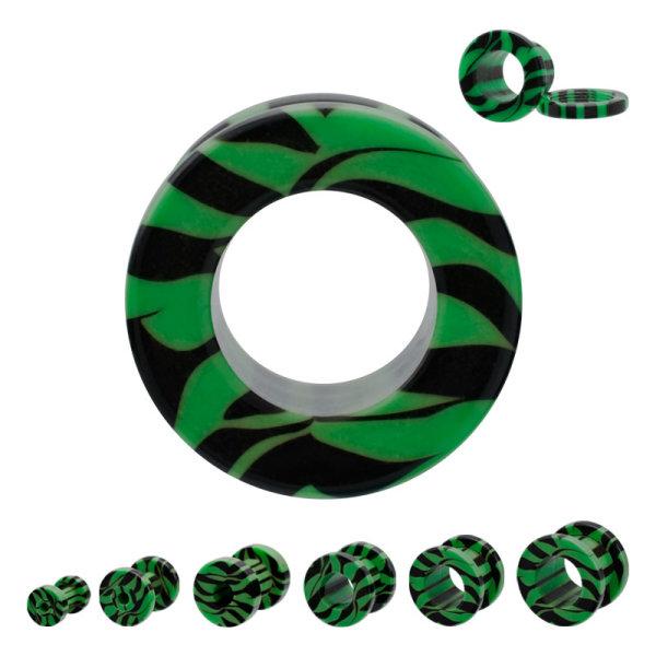 Flesh Tunnel - Kunststoff - Zebra - Grün