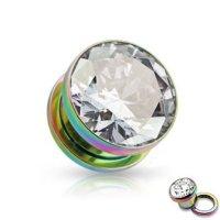 Kristall Plug - Stahl - Regenbogen - Kristall - Klar
