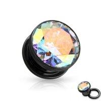 Kristall Plug - Stahl - Schwarz - Kristall - Crystal