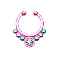 Fake Septum Piercing - Pink - Blau - Kristall