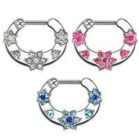 Septum Klicker - Silber - Kristalle - Blume