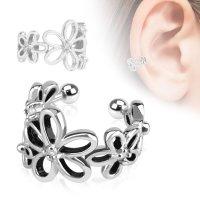 Ear Cuff - Silber - Blumen