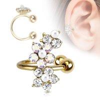 Ear Cuff - Gold - Blume - Kristalle