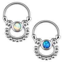 Septum Klicker - Ring - Silber - Opalith