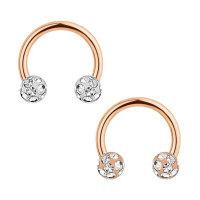 Piercing Hufeisen - Mulitkristall - Rosegold