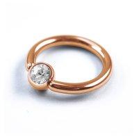 Piercing Klemmring - Rosegold - Kristall - Klar
