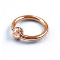 Piercing Klemmring - Rosegold - Kristall - Pfirsich