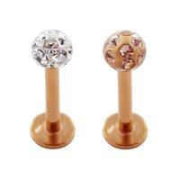 Piercing Labret - Rosegold - Multikristall