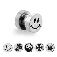 Magnet Fake Plug - Stahl - Silber - Motiv
