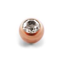 Piercing Kugel - Stahl - Rosegold - Kristall - Klar