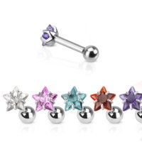 Piercing Stab mit Kugel - Silber - Kurz - Kristall - Stern