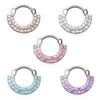 Septum Klicker - Ring - Silber - Kristalle - Doppel