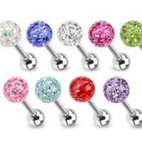 Piercing Stab - Silber - Kristalle - Schutzschicht