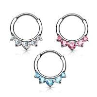 Septum Klicker - Ring - Silber - Kristalle - Spitz