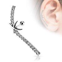 Piercing Stab - Silber - Kurz - Linie - Kristalle