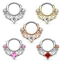 Septum Klicker - Ring - Ornament - Kristall - Eckig