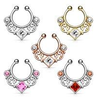 Fake Septum Piercing - Ornament - Kristall - Eckig